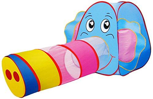 Elefantenzelt mit Krabbeltunnel / bunte Farben / POP-UP