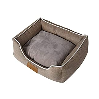 ACMEDE Rectangle Pet Bed Washable Dog or Cat Bed Puppy Cushion Imitation Linen Cloth with Removable Cushion Small 45 * 35 * 8cm