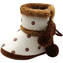 Zapatos Bebe Primeros Pasos, Zolimx Muchachas Lindas del Bebé Niña Niño Botas Suaves de Nieve de Suela Zapatos Suaves de Cuna Botas Recién Nacidas (0-3Meses, Marrón/#1)