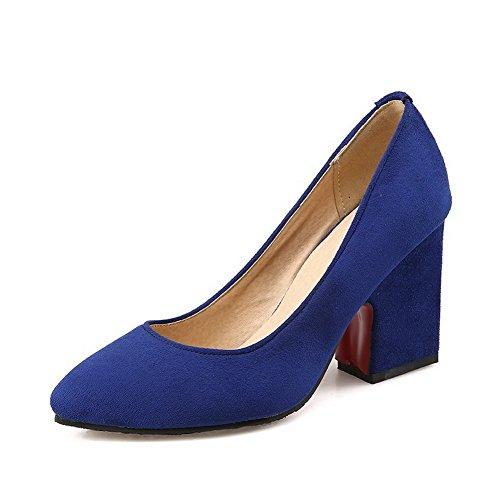 Bombas Em Pé Dedo Vidro Pointy Alto Bulbo Senhoras Azuis Do Fosco Puramente Salto Puxe Sapatos Allhqfashion OazxPHX