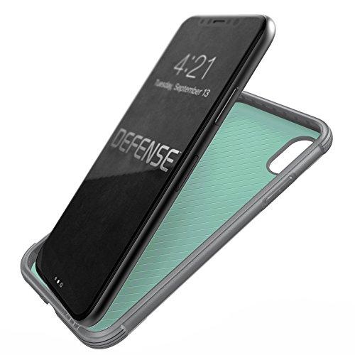 Étui iPhone X,X-Doria Defense Lux Series - Test de niveau de qualité militaire, aluminium anodisé, TPU, étui de protection en polycarbonate pour Apple iPhone X - Fibre de carbone Cuir noir