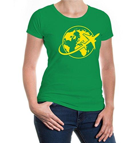buXsbaum® Girlie T-Shirt Travel around the World Kellygreen-Sunflower