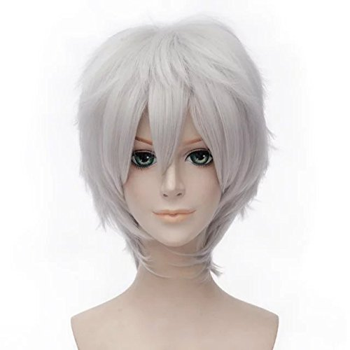 Perücke Weiße Männer (Top Cosplay Silber Weiß 30cm Damen Männer Short Anime Cosplay)