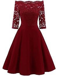 6ad16fc03a7ad La vogue Damen 50er Vintage Kleid Off Schulter Spitze Abendkleid Knielang  Cocktail Partykleid