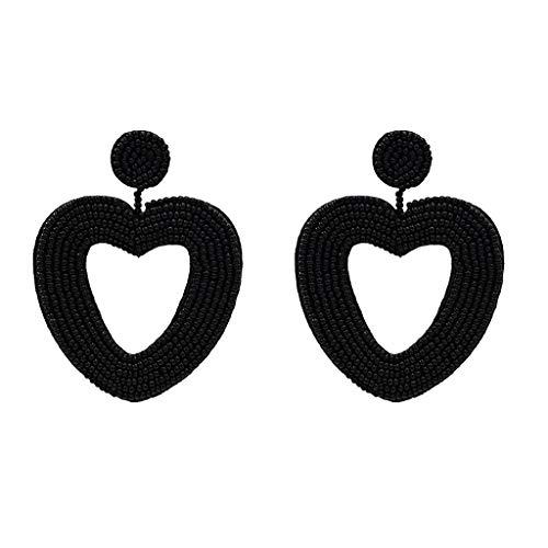 ringe Mode Ohrringe Vintage Metall Disc Cutout Ohrstecker Geometrische Herzform Quadrat-Tropfen-Ohrring Geometric Retro Vintage Art Kreative Ohrringe ()