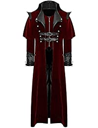 Zolimx Herren Print Mantel Frack Jacke Gothic Gehrock Uniform Mode Vintage  Smoking Kostüm Party Outwear 92e590e522