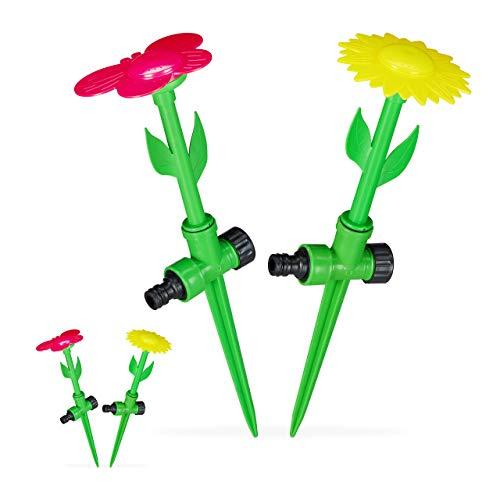 Relaxdays 4 x Sprinkler Blume, Spritzblume Garten, Rasensprenger Kinder, mit Erdspieß, Sprühregner, HxD: 34 x 10 cm, rot/gelb