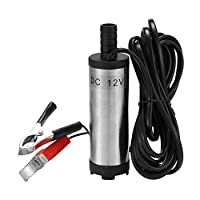 Andoer DC 12V Electric Submersible Pump Stainless Steel Submersible Pumps for Water Diesel Oil Kerosene 12 L/min Refueling Tool