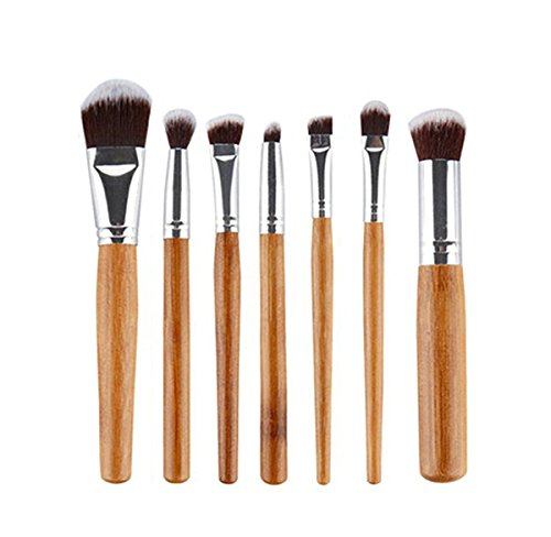 Incendemme 7pcs Gesichtspinsel Pinselset Schminkpinsel Kosmetikpinsel Bambus Pinsel Make Up Tool (Kabuki Karneval Kostüm)