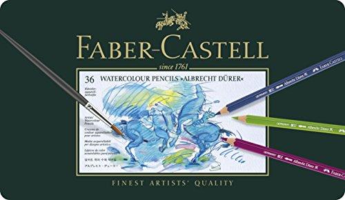 Faber-Castell 117536 Crayons de couleur aquarellables Albrecht Dürer, boîte métal de 36