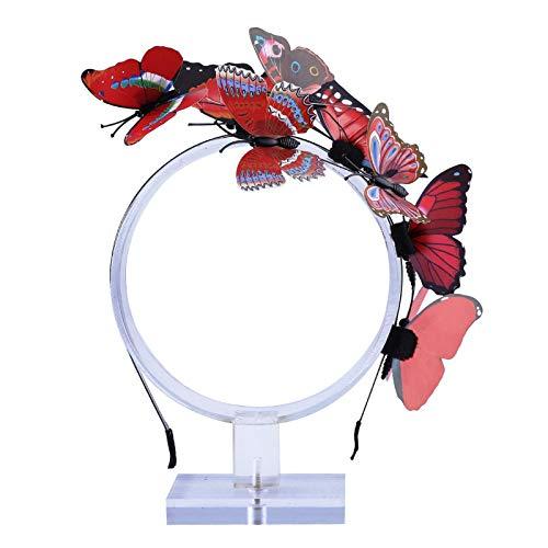 AWAYTR Schmetterlings Stirnband für Damen Mädchen Schmetterlings Haarband Fee Kostüm Kopfschmuck Party Festival schickes Fee Stirnband (Rot) (Kostüm Fee Rote)