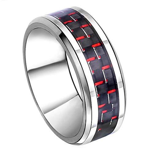 SonMo Ring Männer Edelstahl Schädel Totenkopfrunden Männer Ringe mit Gravur Herren Ring Edelstein Rot Herrenring Gothic Größe 60 (19.1)