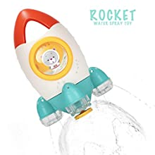HengGL Baby Bath Toy - Fountain Rocket Bath Toys for 1 2 3 4 5 Year Old Kids Fun Bath Time Tub Toys Water Spin and Flow Non Toxic Ideas(Yellow)