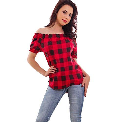 Toocool - Blusa donna corta scozzese tartan top manica corta tunica scacchi nuova AS-8180 Rosso