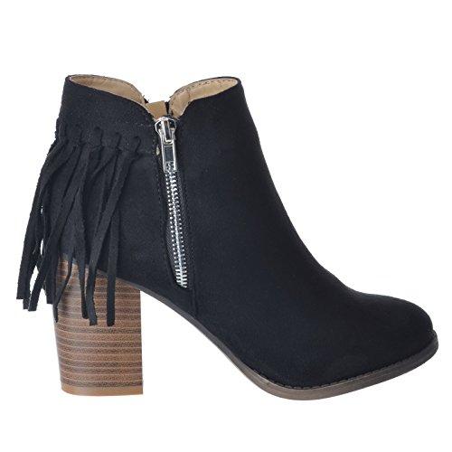 Tamanho Chelsea Calcanhar Novas Preta Zipper Mulheres Sapatos Borla Camurça Arte Ankle Bloco Aproximadamente Boots fp8nI8