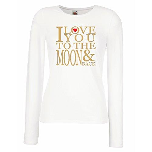 Weibliche langen Ärmeln T-Shirt Ich liebe dich zum Mond und zurück zu lieben T-Shirt, große Valentinstag Geschenk (XX-Large Weiß Gold)