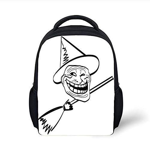 Kids School Backpack Humor Decor,Halloween Spirit Themed Witch Guy Meme LOL Joy Spooky Avatar Artful Image,Black White Plain Bookbag Travel Daypack