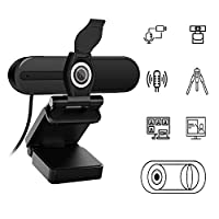 Webcam 1080P with Microphone,HD External Video Camera for Desktop PC,Laptop,USB Webcam with Privacy Cover for Video Conference,Online Course,Facebook,Youtube Video Live Streaming