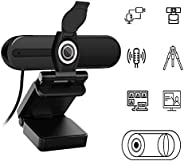 Webcam 1080P with Microphone,HD USB Webcam for Laptop Desktop PC,External Video Camera with Privacy Cover for