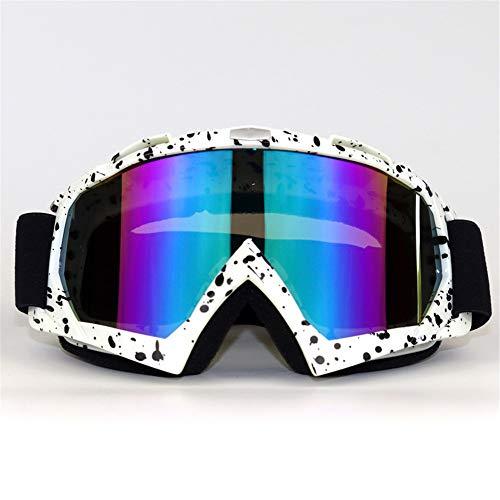 SMBYQ Motorradbrille Verstellbarer, Rutschfester Gurt Anti-Fog-UV-Schutz Sicherheit Bruchsicher ATV Dirt Bike Airsoft-Brille für Männer Frauen,13