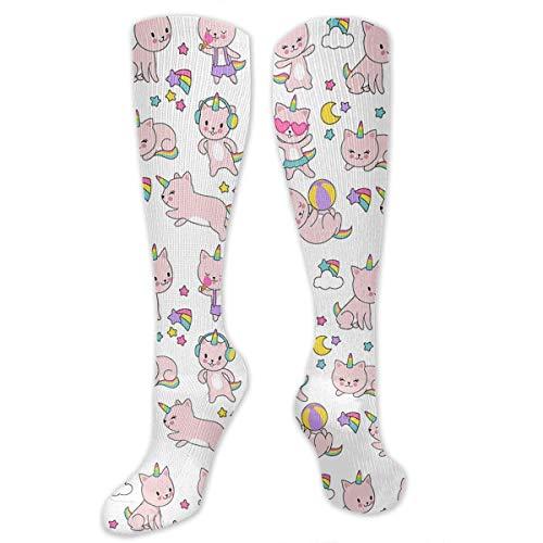 (NFHRREEUR Compression Socks Cat Rainbow Unicorn Love Ice Cream Knee High Socks Sports Athletic Socks Soccer Team Tube Stockings Long Socks Funny Personalized Gift Socks for Men Women)