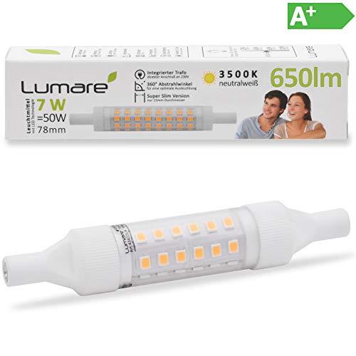 Lumare R7s LED 7W 78mm 230V Leuchtmittel Halogen Flutlicht Fassung ersetzt 50W Baustrahler Lampe Ersatz Halogenstab 3500K warmweiß bis neutralweiß 78