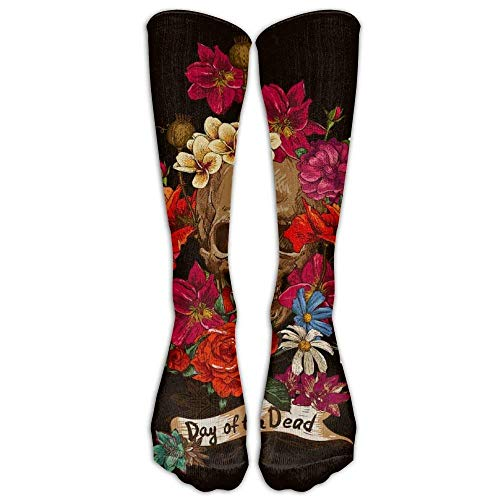 Grunge Cute Mexican Sugar Skulls Day of The Dead Floral Outdoor Athletic Long High Sock Stocking Multi Colorful Flowers Sugar Skull