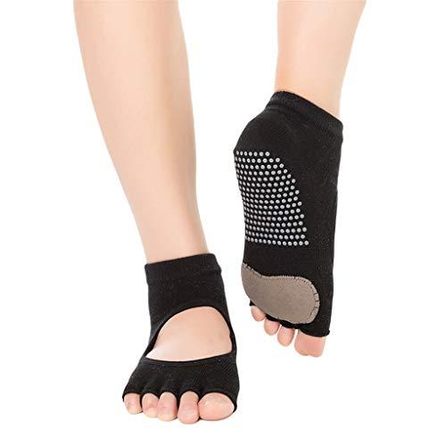 SEVENHOPE Frauen Half Toe Bio-Baumwolle Open Front Yoga Socken Rutschfeste Anti Skid Grip Socken (schwarz) -