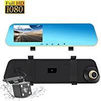 COOLtry - Cámara de visión trasera para salpicadero de coche, cámara de copia de seguridad de doble lente, 1080P, Full HD, grabadora de vídeo frontal y trasera, DVR, sensor G, detección de movimiento, modo de aparcamiento, 4,3 pulgadas, 140° de ancho