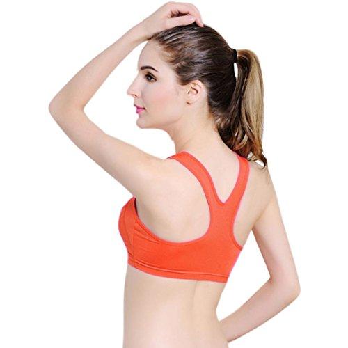 Soutien-gorge de sport,Tonwalk Yoga Fitness Entraînement Sans couture Tank Tops Orange