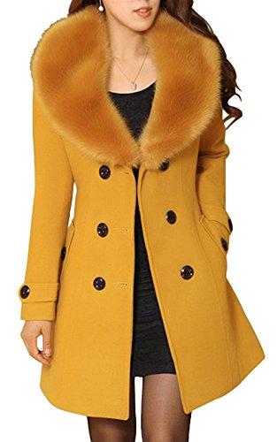 Bestfort Mantel Damen Elegant Trenchcoat Wintermantel Warm Gefüttert Revers Lange Ärmel Wollmantel Übergangsmantel Zweireihig Herbst Winter
