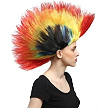 WIG ME UP ® - DH1159 Peluca Carnaval Halloween Wave Punk roquero Cresta Mohawk 80s Colorido