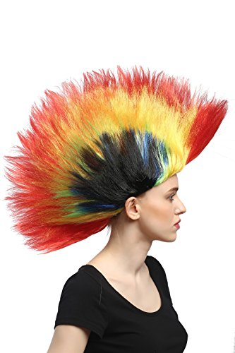 WIG ME UP ® - Perücke Fasching Karneval Halloween bunter Iro 80er Wave Punk Glam Mohawk Rot-Gelb-Grün-Blau-Schwarz DH1159-PC13/PC2B/PC15/PC3/P103