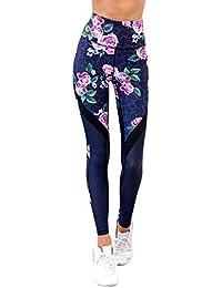 FELZ Pantalones de Yoga para Mujer Pantalones de Yoga de Malla elástica con Cintura Alta Impresa Leggins