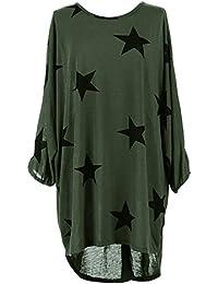 Yidarton Tunique Femme Longue à Manche Chauve Souris Grande Taille Casual Top Tee Shirt Blouse Long