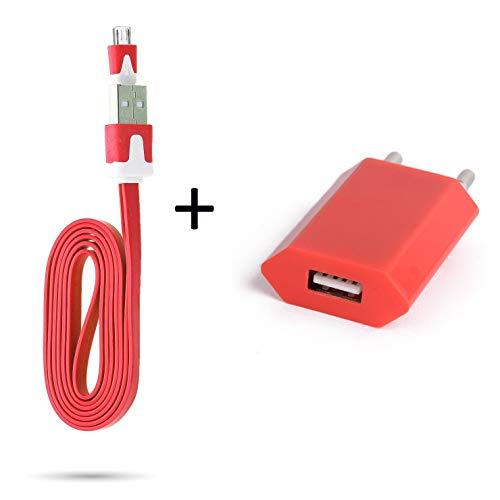 shot case cavo noodle 1 m caricatore + presa di rete per smartphone wiko view 3 lite, micro usb, confezione universale android (rosso)