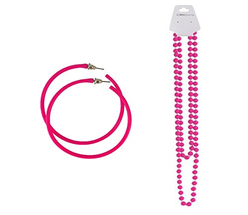 Neon Beads Necklace and Hoop Earrings - Many Colours