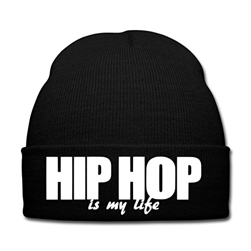 Spreadshirt Hip Hop Is My Life Bonnet d'hiver, noir