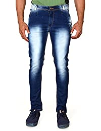 Villain Men's Jeans - Polo Fit Denims For Boys - Washed Mid Rise Slim Fit Jeans - Blue