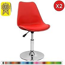 Decopresto 2 X Chaise Inspiration Tulipe Pivotante Reglable Pieds INOX Chrome Siege Coussin Rouge DP