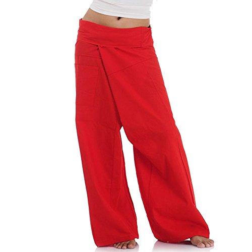 Princess of Asia Thai Fisherman Pants Wickelhose Kung Fu Karate Yoga Hose (Rot)