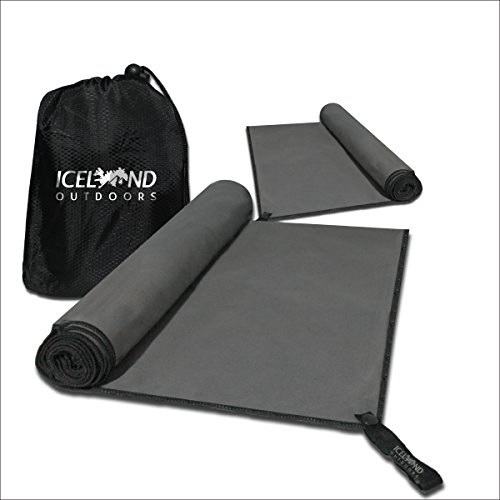 Grande asciugamano in microfibra da campeggio 140x80 cm, asciugatura rapida, antibatterico, colore: grigio, ideale per escursionismo e campeggio, super assorbente, fornito con custodia