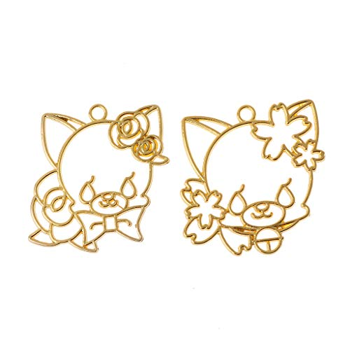 FURU Metals Frames,2 Stücke Cherry Rose Cat Blank Harzrahmen Offene Lünette Einstellung Anhänger Schmuckherstellung -