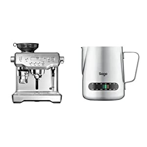 Sage by Heston Blumenthal the Oracle Coffee Machine and Grinder, 2.5 L, 2400 W - Silver & Sage by Heston Blumenthal the Temp Control Milk Jug, 0.48 L