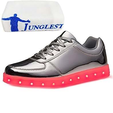 (Present:kleines Handtuch)Gold EU 42, Herren (Größe Damen Flashing Luminous mode Lovers Schuhe USB-Lade Sportschuhe Unisex 43, leuchten Glow S