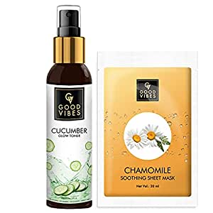 Good Vibes Skin Care Combo - Cucumber Glow Toner (120 ml) and Chamomile Soothing Sheet Mask (20 ml)