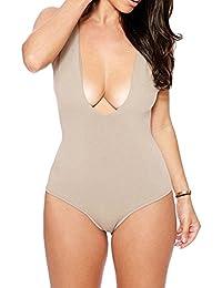 SaiDeng Para Mujer Trajes De Una Pieza Bañador Baño V-Cuello Halter Push Up Bikinis Ropa De Baño Beachwear