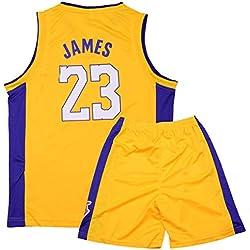 Formesy Bambini Ragazzi Ragazze Uomo Adulto NBA Lebron James #23 LBJ LA Lakers Retro Pantaloncino e Maglia Basketball Jersey Basket Maglie Uniforme Top & Shorts 1 Set