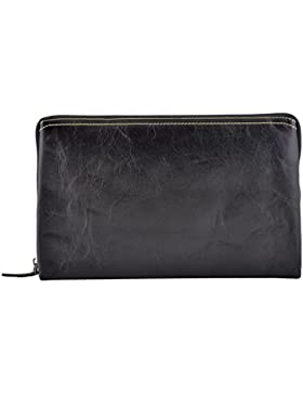 Echtes Leder Unisex Clutch Farbe Schwarz - Italienische Lederwaren - Herrentasche