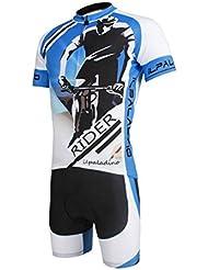 Maillot de vélo avec short avec 3D Pad Polyester Anti-UV respirant Quick Dry résistant Bike Shorts High Elastic Tight Short Sleeve Bib Pant Set pour hommes
